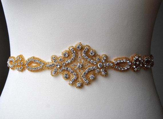 Mariage - Gold Stunning Crystal Bridal Sash,Wedding Dress Sash Belt, Rhinestone Sash, Rhinestone Bridal Bridesmaid Sash Belt, Wedding dress sash