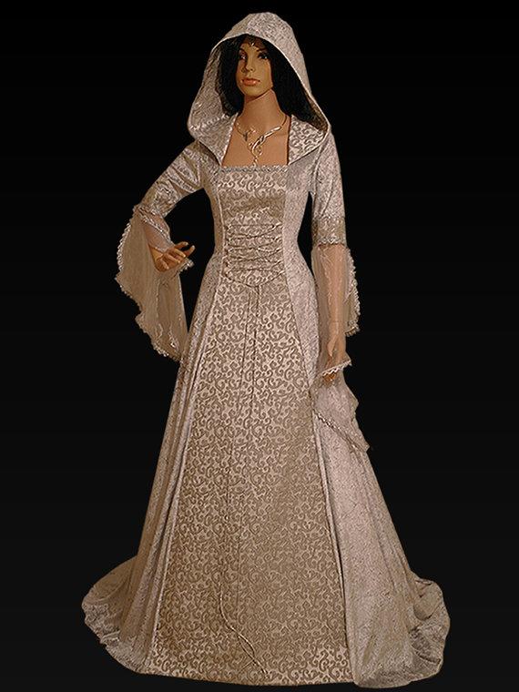 Mariage - medieval handfasting renaissance Wedding dress custom made