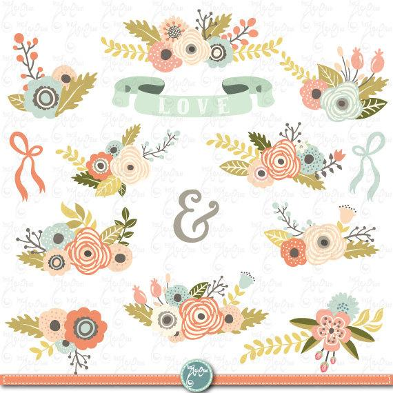 "زفاف - Flowers Clipart pack ""FLORAL BOUQUET"" clip art pack,Vintage Flowers,Floral bouquet,Weding flower,Flora,Wedding invitation Wd083"