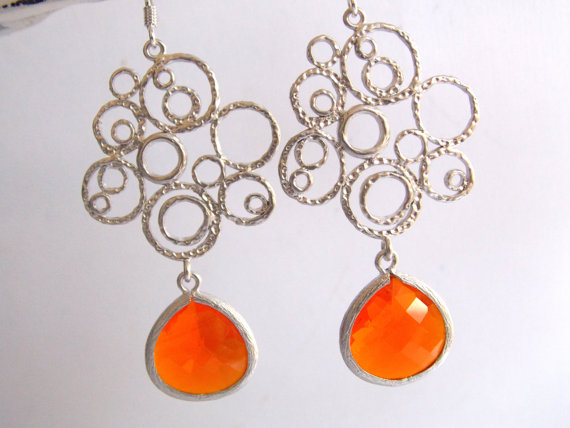 Mariage - Orange Earrings, Glass Earrings, Silver Earrings, Tangerine, Coral, Circle Earrings, Wedding Jewelry, Bridesmaid Earrings, Bridesmaid Gifts