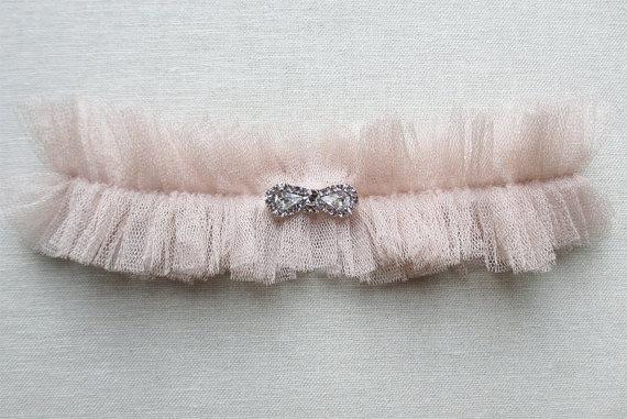 Wedding - Degas silk garter with crystal bow