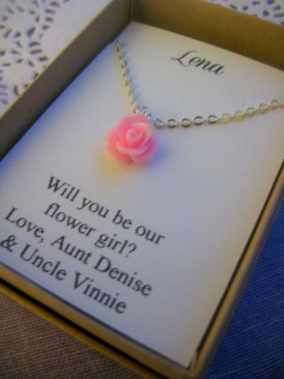 Hochzeit - Flowergirl Gifts, Small Sized Rose Necklace, Personalized Notecards, Free Jewelry Box. Multiple Order Discount Available