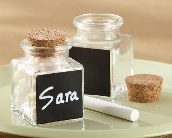 زفاف - Chalkboard Glass And Cork Favor Jars (Set Of 12)