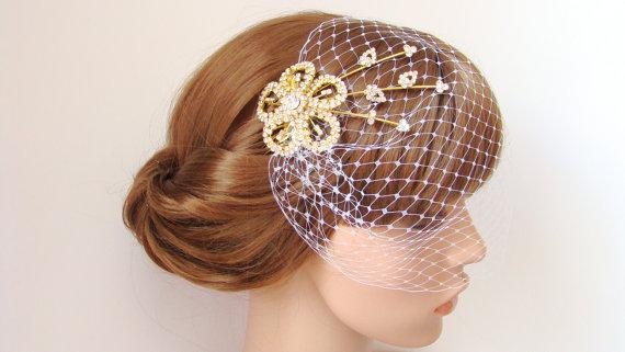 Hochzeit - Short Ivory Wedding Veil - Blusher Bird Cage Veil - Bridal Veil and Gold Bridal Comb - Rhinestone Fascinator Comb