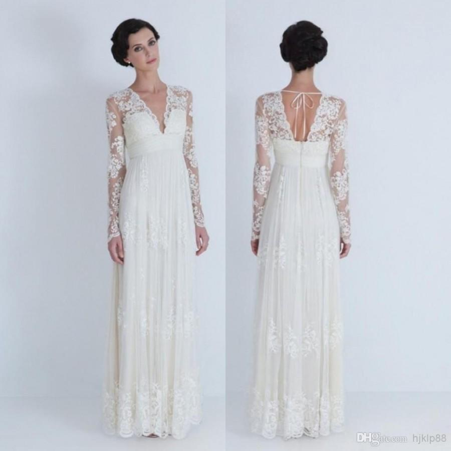 2014 sheer wedding dresses v neck long sleeve pleated