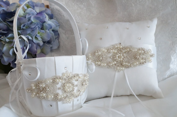 Flower Girl Basket Ring Bearer Pillow Wedding Basket And Pillow Set