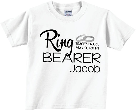 Wedding - Personalized Ring Bearer Shirts and Tshirts with Rings and Wedding Date