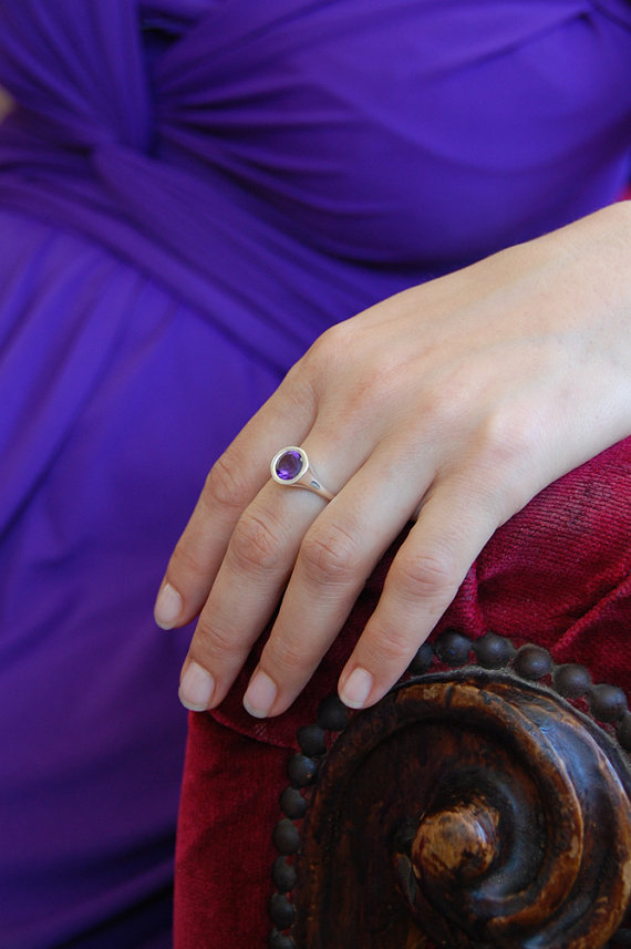 Wedding - amethyst engagement ring , solitaire engagement ring , bezel engagement ring