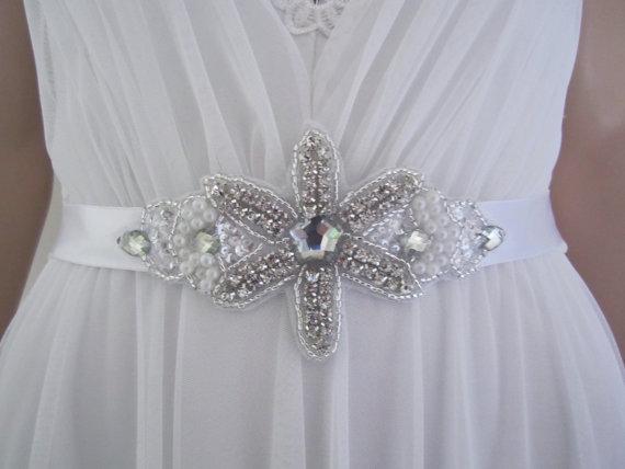 Wedding - Wedding Sash Belt Wedding Bridal Sash Handmade  : KATIE Vintage Look Floral Crystal Rhinestones Satin SashBelt