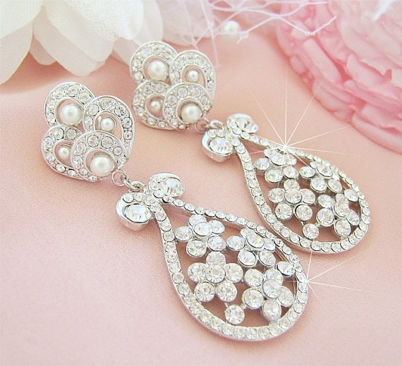 Свадьба - Statement Bridal Earrings, Bridal Chandelier Earings, Crystal Wedding Earrings, Bridal Jewellery, Wedding Jewelry