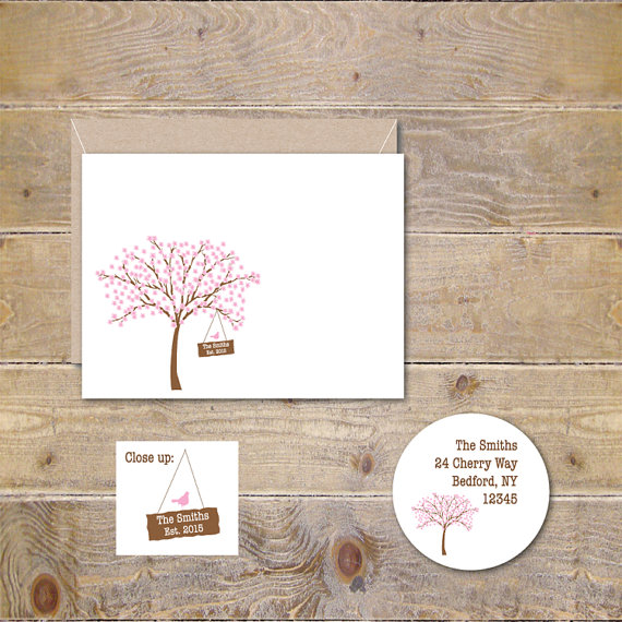 wedding thank you cards bridal shower thank you cards thank you notes personalized cherry tree hanging sign