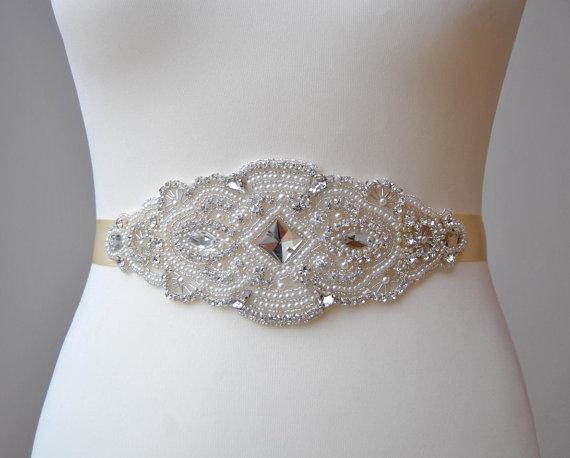 Hochzeit - Stunning Pearls Crystal Bridal Sash,Wedding Dress Sash Belt, Rhinestone Sash, Rhinestone Bridal Bridesmaid Sash Belt, Wedding dress sash