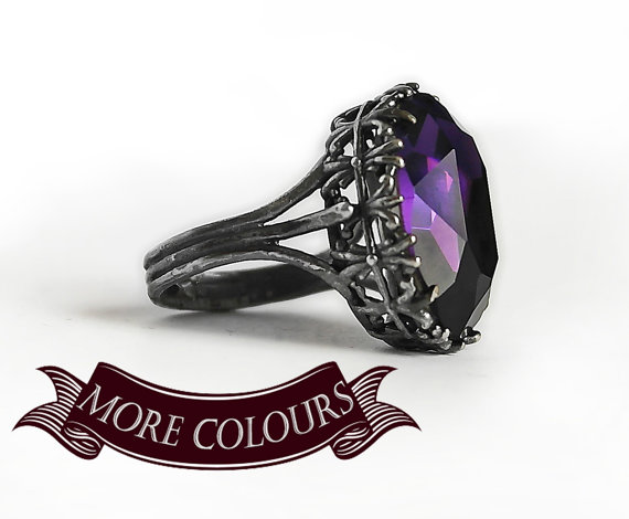 Wedding - Gothic Purple Ring Gothic Jewelry Gothic Ring Oxidized Silver Ring Purple Swarovski crystal Ring Adjustable Ring cocktail engagement ring