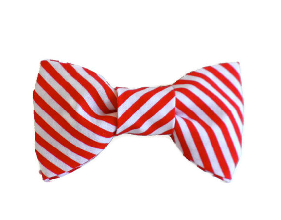 Свадьба - Red and White Stripe Dog Bow Tie Wedding Accessories Christmas Made to Order