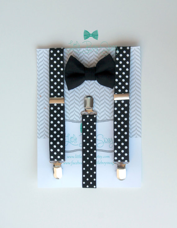 00b34636f69 Black Bow Tie with Polka Dot Suspenders..Boys Bow Tie Suspenders Set..Ring  Bearer Outfit..Baby Boy Suspenders..Kids Clothing..Baby Clothing