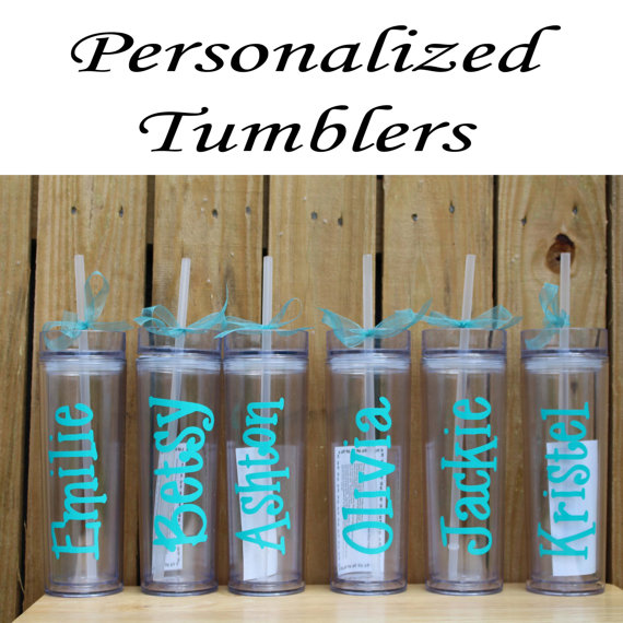 Personalized Bridesmaid Tumblers Glass Set Of 4 Personalized Tumbler Bridesmaid Gift