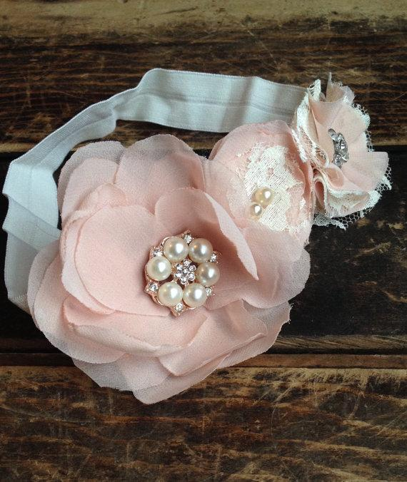 Peach Chiffon Flower Headband 8f7db02bb22