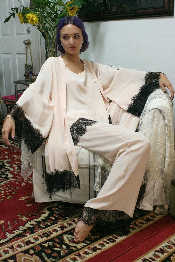 Mariage - Silk Pajamas and Robe Set Silk Lingerie Silk Sleepwear Pajamas and Robe Sleepwear Bridal Lingerie Art Deco Lingerie