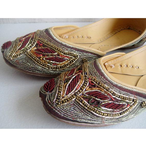 Wedding - US Size 7 - Sequin Bridal Ballet Flats/Wedding Shoes/Satin Shoes/Marron Shoes/Dark Red Shoes/Handmade Designer Shoes/Women Jooties