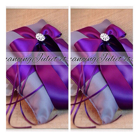 Wedding - Romantic Satin Elite Ring Bearer Pillow...You Choose the Colors...SET OF 2...shown in pewter gray/eggplant purple