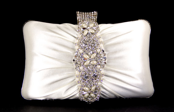 Mariage - ON SALE Bridal Clutch - Ivory Satin Evening Bag with Austrian Crystals & Pearls, Bridal Clutch, Bridal Purse - Bridal Clutch - Wedding Purs