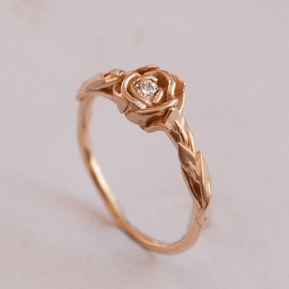 Rose Engagement Ring No 2 Rose Gold Engagement Ring Unique Engagement Ring
