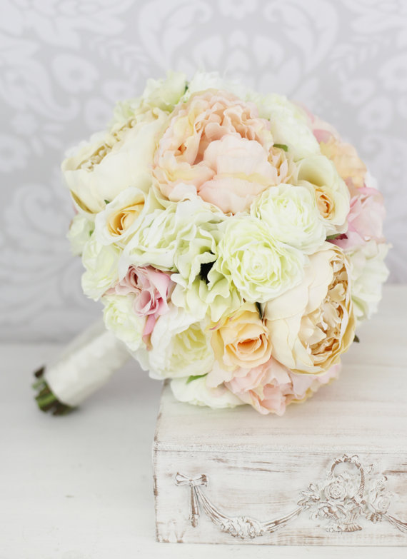 زفاف - Silk Bride Bouquet Pink Peony Flowers Peonies Shabby Chic Wedding