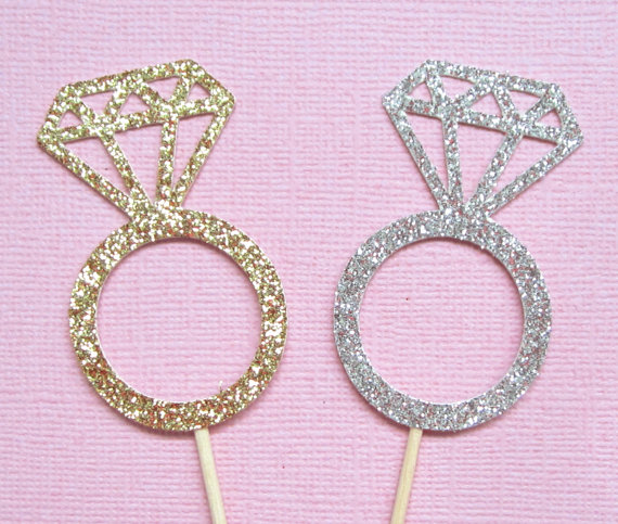 Wedding Ring Cupcake Toppers Diamond Ring Cupcake Toppers