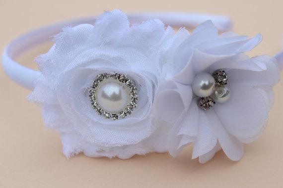 Mariage - white headband flower girl headband plastic toddler hard headband satin headband Girls headband wedding headband vintage headband