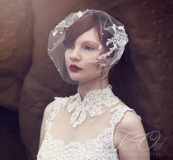 Bridal Veil Soft Fine Tulle Bandeau Style Vintage Lace Beaded Pearls Crystals Beads Couture Bespoke Victorian Wedding