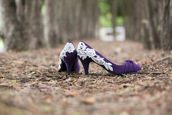 Mariage - Purple Wedding Heels - Purple Bridal Shoes, Wedding Shoes with Ivory Lace. US Size 8.5