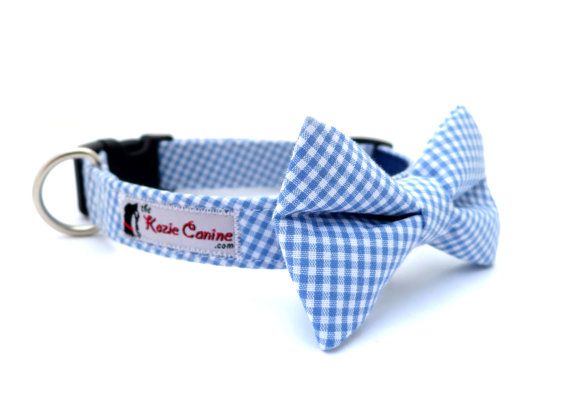 Свадьба - Gingham  Dog Collar (Blue Checkered Dog Collar Only - Matching Bow Tie Available Separately for Wedding & Special Occasion)