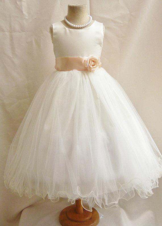 Hochzeit - Flower Girl Dresses - IVORY with Peach (FD0FL) - Wedding Easter Junior Bridesmaid - For Children Toddler Kids Teen Girls