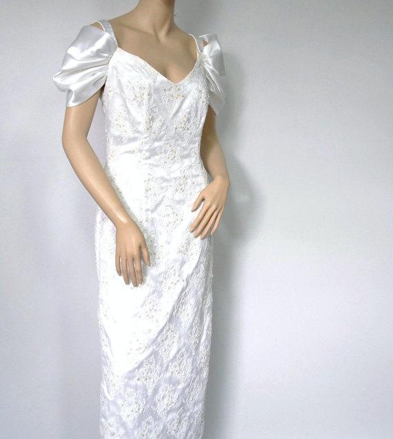 Wedding - Vintage Wedding Gown St. Tropez Wiggle Beaded Satin White Dress Off the Shoulder Size 12