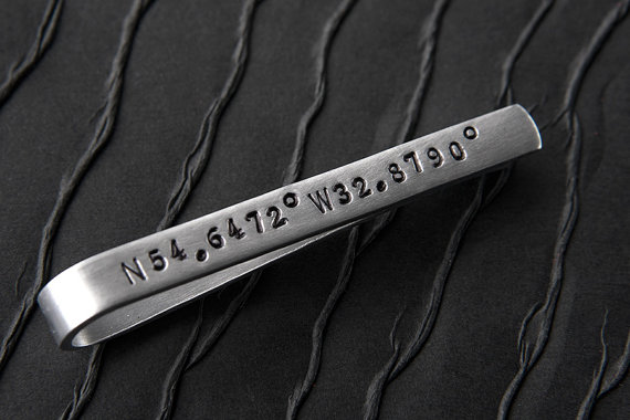 Laude And Longitude Tie Clip Gps Gift Ideas For Groomsmen Groom Best Man Men Custom
