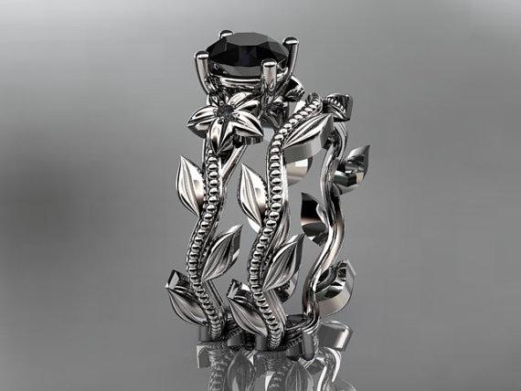 Wedding - Unique platinum diamond floral wedding ring, engagement set with black diamond ADLR238