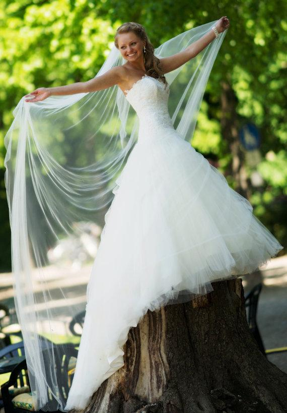Hochzeit - Shiny and Beautiful Ivory Shimmer Wedding Veil Cathedral Length One Tier Bridal Veil With Precision Cut Edges 100 Long and 108 Wide 48883