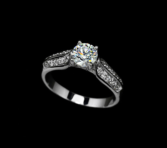 Mariage - 0.75 ct Round Cut Cubic Zirconia Engagement Ring Solitaire Ring Domed Ring Band Wedding Ring Accent Ring Gift Classic Ring, AR0003