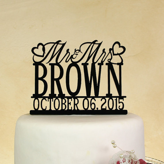 Свадьба - Wedding cake topper Mr. and Mrs. Personalized in your name with Date by Distinctly Inspired (style BD-2)