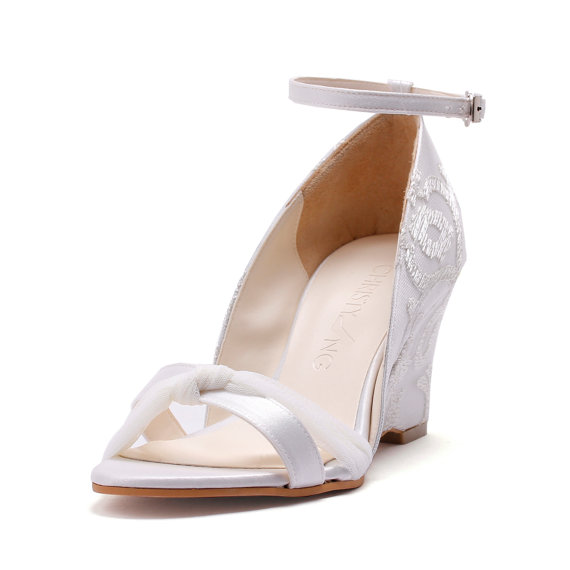 Ivory Lace Chiffon Wedge Wedding Shoes