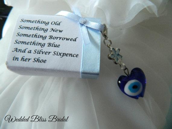 Wedding Bouquet Charm Evil Eye Talisman Something Blue Gift Boxed