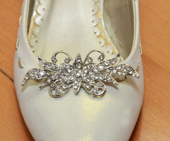 Hochzeit - A Pair Of Crystal Shoe Clips,Bow Rhinestone Shoe Clips,Wedding Bridal Shoe Clips,Butterfly Crystal,Shoes Decoration,Dance Shoe Clips