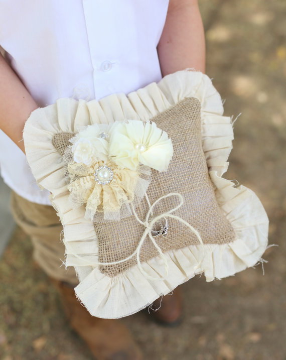 Rustic Ring Bearer Pillow Vintage Inspired Wedding Burlap Lace Rosettes Pearls Item Number Mhd20002