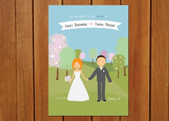 Wedding - Custom Illustrated Wedding Invitation