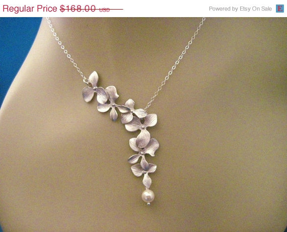 Mariage - Bridesmaid Jewelry Set of 6 Silver Orchid Wedding Necklaces Heather