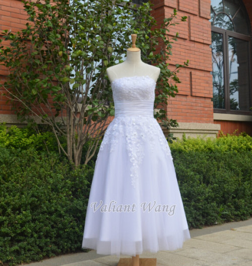 Wedding - Lace Tulle Wedding Dress Tea Length Short Dress For Outdoor Wedding