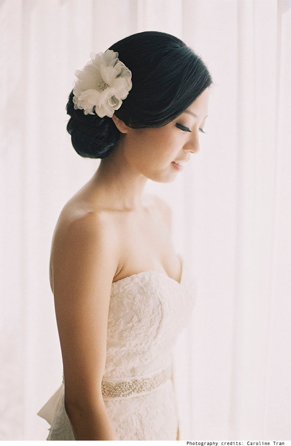 Mariage - Wedding Hair Flower - Ivory White Bridal Hair Comb - Handmade Bridal Hair Accessories - Rhinestone Flower Center - Style FL1201R