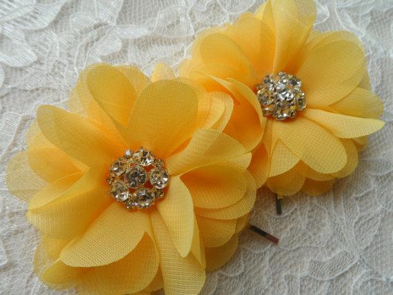 زفاف - Yellow Chiffon Hair Flowers / Bridal Hair Clips / Hair Clips Rhinestone Center / Wedding Accessories / Bridesmaids / Shoe Clips/ Set of Two.