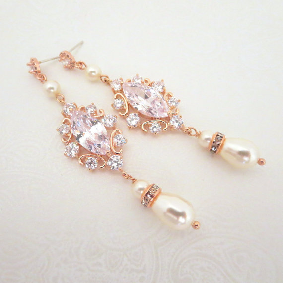 Rose Gold Bridal Earrings Pearl Wedding Jewelry Long Crystal Vintage Style