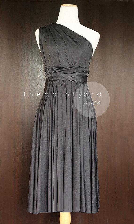 Wedding - Short Straight Hem Slate Bridesmaid Convertible Infinity Dress Multiway Dress Wrap Dress Prom Dress Wedding Dress